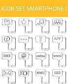 Drawn Doodle Lined Icon Set Smartphone I
