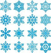 Set of decorative snowflake silhouettes. New year decorations