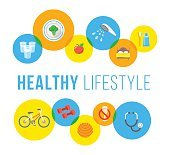 Healthy lifestyle flat vector concept