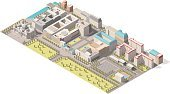 Vector Isometric infographic element representing low poly map of Berlin