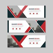 Red black triangle abstract circle corporate business banner template, horizontal