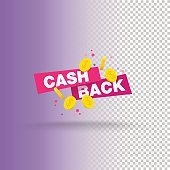 Isolated sticker, labels, emblem Cash Back