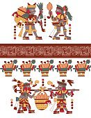 aztec pattern cacao tree, mayans,  beans and decorative bo