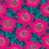 bright pink and red decorative camellia flowers seamless pattern
