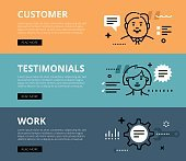 Customer Testimonials Work. Web banners vector set