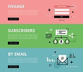 Engage Subscribers by Email. Web banners vector set