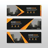 Orange black triangle square abstract corporate business banner template horizontal