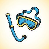 Diving snorkel and goggles. Vector drawing