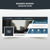 Blue triangle abstract corporate business banner template, horizontal advertising business