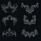 Vintage hand drawn engraving design floral frames and design ele
