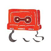 retro cartoon cassette tape
