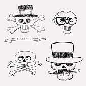 Skulls in the hat with mustache and glasses