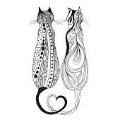 Cute doodle cat. Vector hand drawn kitten with decorative ornament.