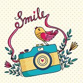 Vector illustration with photo camera and bird