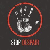 Vector illustration. Global problems of humanity. Stop despair
