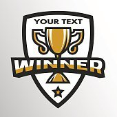 Winner Sports trophy logo emblem.