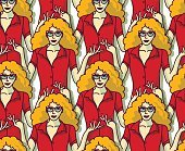 Blond pretty woman in red crowd color seamless pattern.