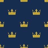 Seamless pattern golden crown king