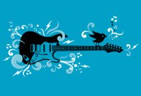 Electric guitar bird cartoon vector