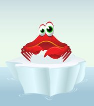 Crab on an iceberg cartoon