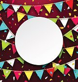Party Background with Clean Card, Colorful Bunting and Confetti