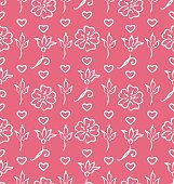 Pink Ornate Seamless Wallpaper for Valentines Day