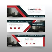 Red black triangle corporate business banner template, horizontal advertising business