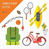 Summer outdoor activities sport equipment flat icons collection with tennis
