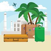 Traveling bag suitcase for trip or vocation, tourism icon baggage