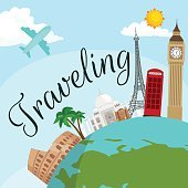 Travel around the world poster. Tourism and vacation, earth , journey