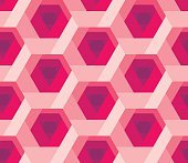 hexagon pattern 3d illusion texture with rose flower shape. red