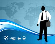 Male Business traveler on global communication background