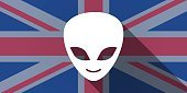 United Kingdom flag icon with an alien face