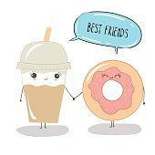 funny cute coffee cup and donut. Best friends.
