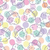 Seamless pattern with cupcakes. Endless food texture with cakes.