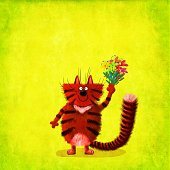 Red Striped Cat Holding Bunch Of Lilies