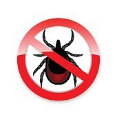 Ticks stop sign. Mite warning sign. Encephalitis parasite icon.