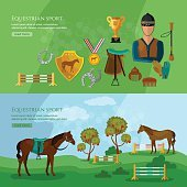 Equestrian sport banner horse riding professional jockey