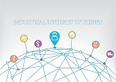 Industrial internet of things background with colorful icons