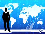 Young businessman on world map background