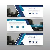 Blue abstract corporate business banner template, horizontal advertising business banner
