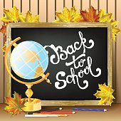 Welcome back to school background, with hand drawn lettering.
