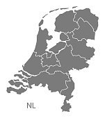 Netherlands Map with provinces grey