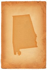 Alabama state map on old paper background