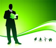 Business man on green environment background