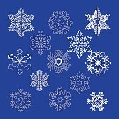 collection of vector snowflakes, blue snowflakes, blue snowflake