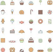 Sweets outline colored icon big vector set. Simple design.