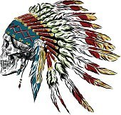Hand Drawn Native American Indian Feather Headdress With Human Skull