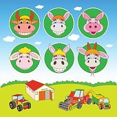 Set of vector cartoon illustration of Agriculture and Farming