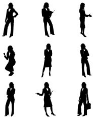 Silhouettes of businesswomen